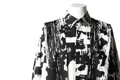 画像をギャラリービューアに読み込む, B Yohji Yamamoto LONG SHIRT COAT / PRIEST STRAP BAND (BLACK×WHITE TEXTILE)