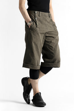 daska marin short pants / cotton linen sumi dyed (KHAKI BROWN)