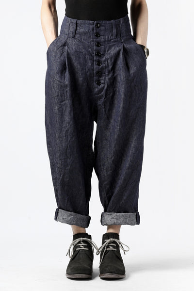 KLASICA SABRON WIDE TAPERED TROUSERS / DEEP DYED LINEN DENIM (NAVY)