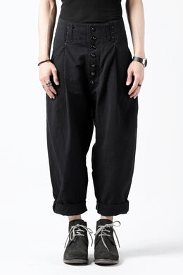 KLASICA SABRON(NW) WIDE TAPERED TROUSERS / TRI MIX HIGH DENSITY PLAIN (BLACK)