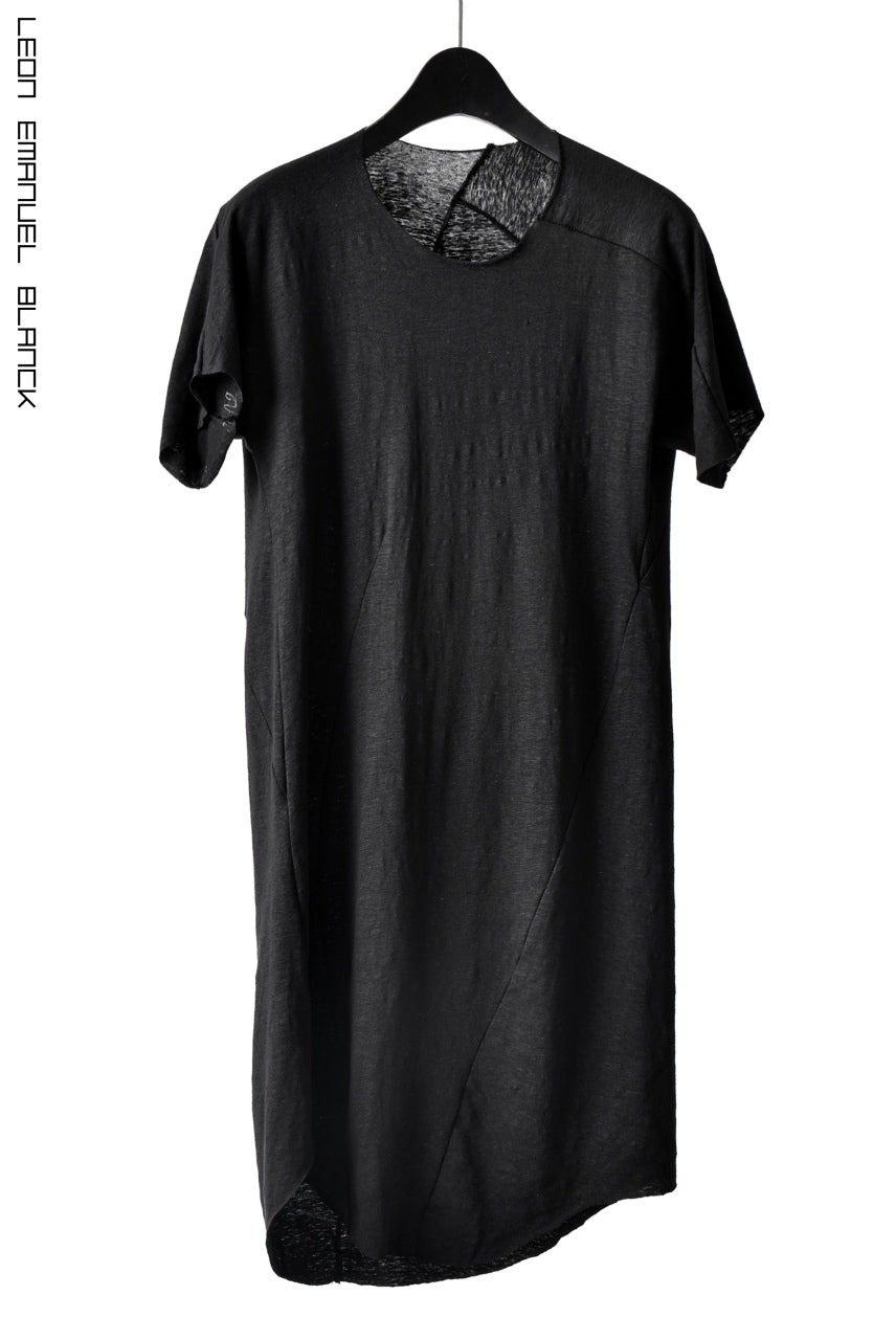 LEON EMANUEL BLANCK DISTORTION CURVED T / LUCENT LINEN JERSEY (BLACK)