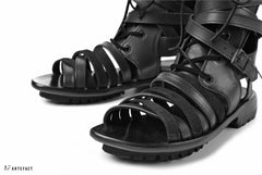 Load image into Gallery viewer, A.F ARTEFACT GLADIATOR BOOTIES SANDAL / LACE UP-BACK ZIP