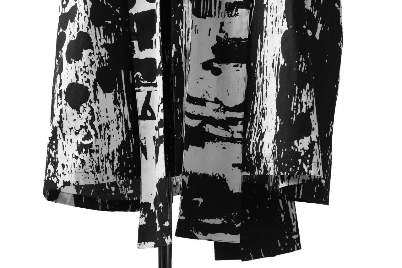 B Yohji Yamamoto LONG SHIRT COAT / PRIEST STRAP BAND (BLACK×WHITE TEXTILE)