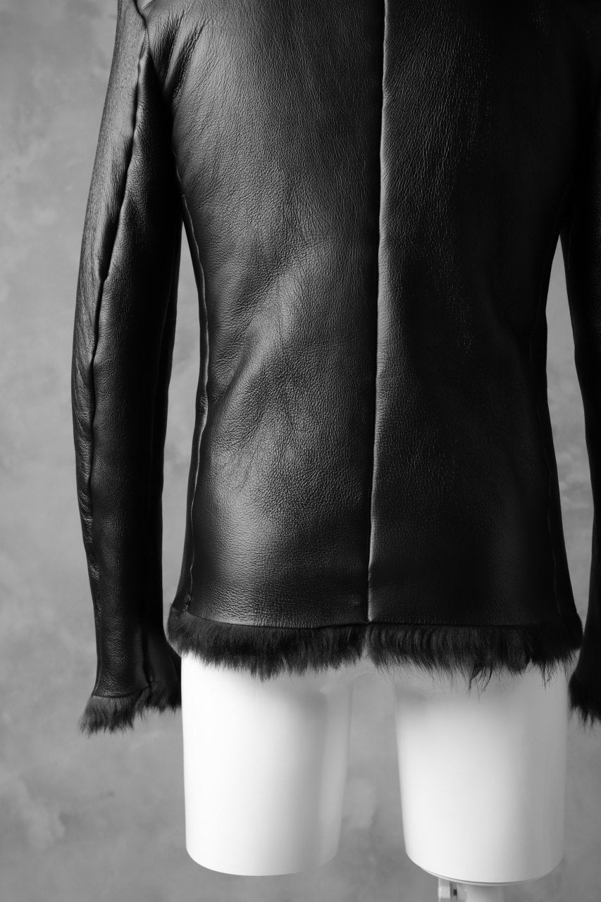 incarnation exclusive SHEEP SHEARLING MOUTON BLOUSON / WIDE NECK & DUAL ZIP (BLACK×BLACK)