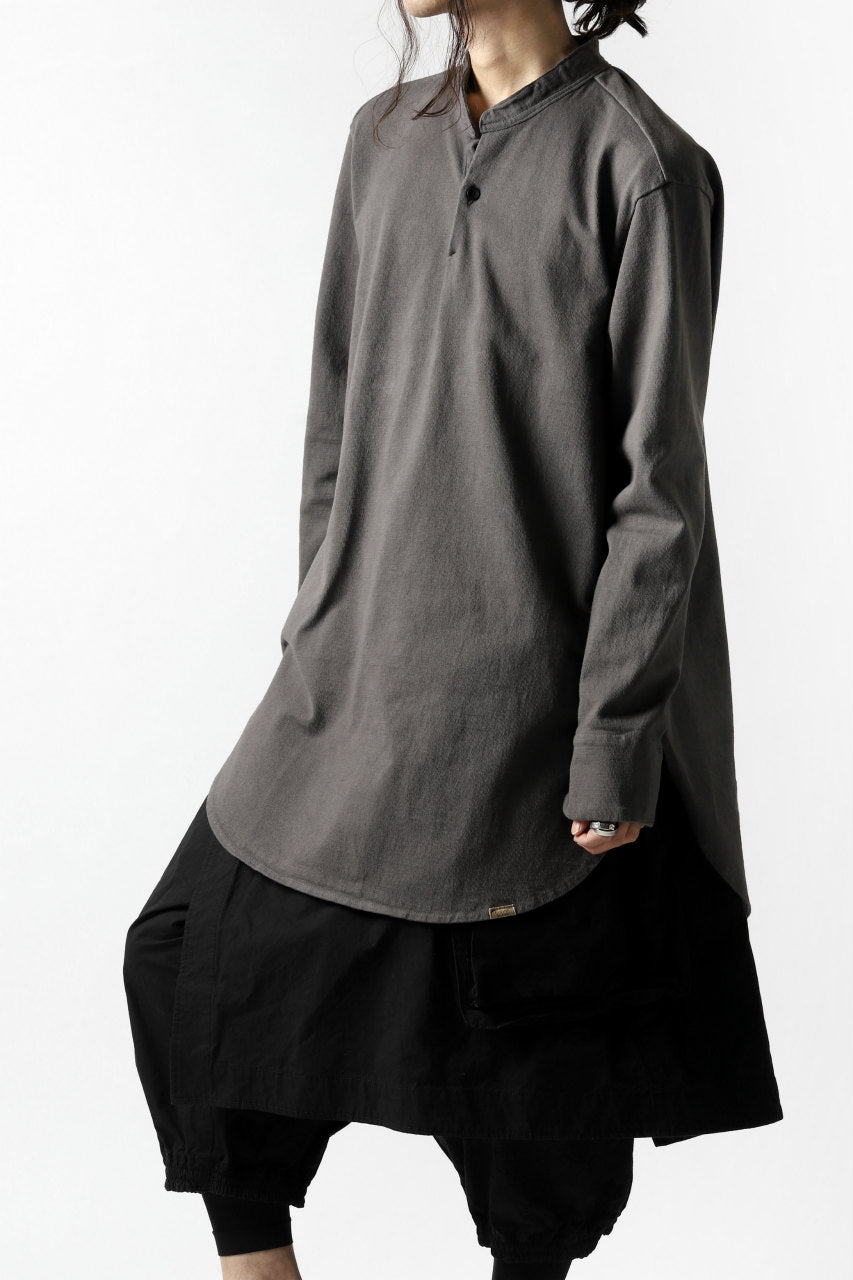 画像をギャラリービューアに読み込む, COLINA GRANPA PULL OVER SHIRT / LOG WOOD DYED HEAVY JERSEY (LOG WOOD BLACK)