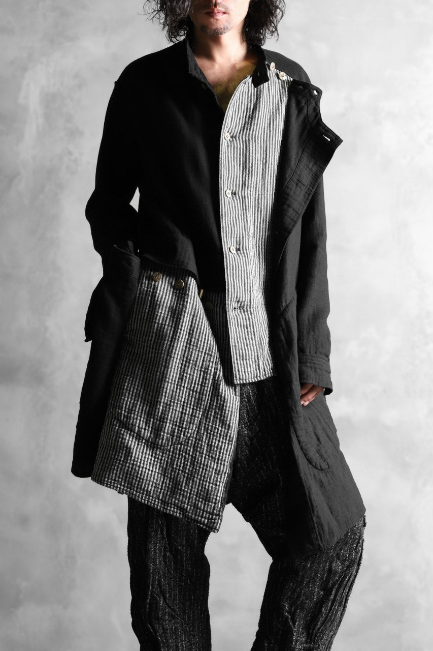 Load image into Gallery viewer, _vital layered shirts coat / cotton gauze and stripe