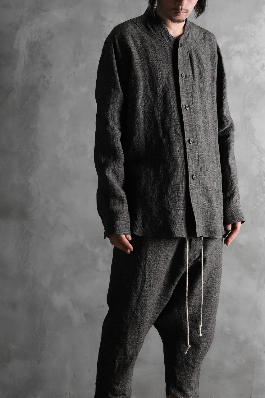 AVIALAE NARROW COLLAR SHIRT /  LINEN (GLEN CHECK)