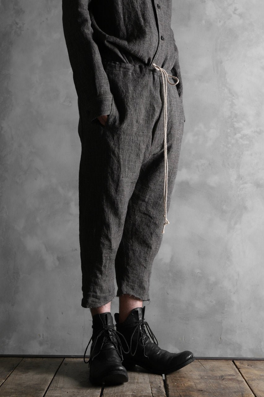 AVIALAE exclusive DROPCROTCH TROUSERS / LINEN (GLEN CHECK)