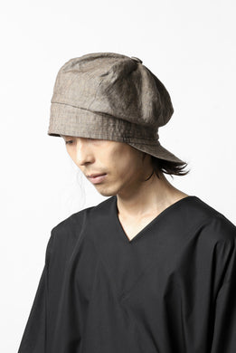 der antagonist. HAND CRAFTED CASQUETTE / NATURAL LINEN (BROWN GREY)