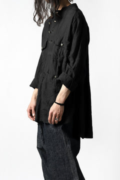 "Load image into Gallery viewer, daska ""vincent"" painter-smock shirt / light linen (BLACK)"