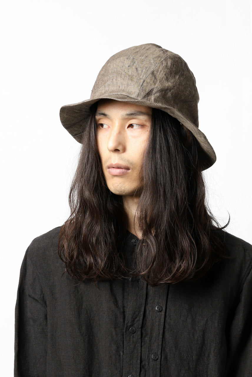 画像をギャラリービューアに読み込む, der antagonist. HAND CRAFTED HAT / NATURAL LINEN (BROWN GREY)