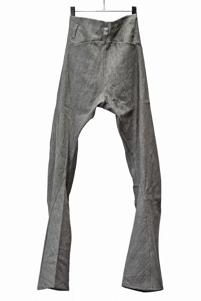 N/07 anatomy 3dimention pants extra stretch silk linen fabric (ASPHALT)