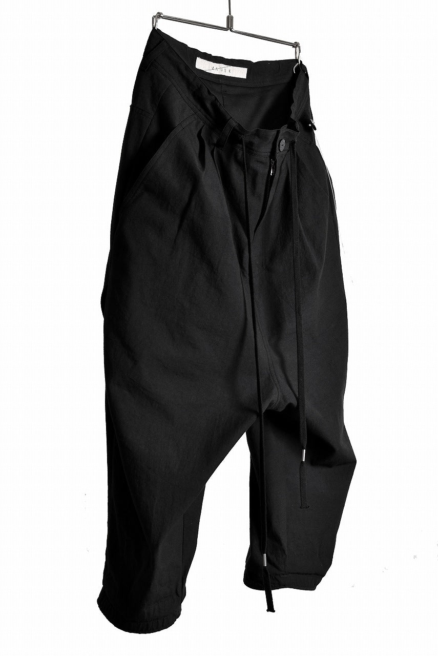 "N/07 ""MAUSK Detail""  Three Dimensional Wide Tuck & Dart Cropped Pants with Draw Code (BLACK)"