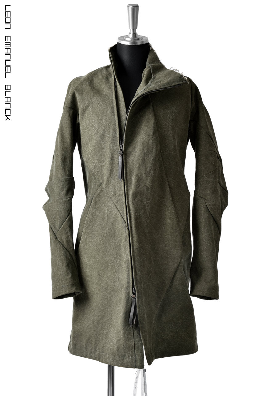 LEON EMANUEL BLANCK DISTORTION SHORT TRENCH COAT / 24oz CANVAS (KHAKI GREEN)