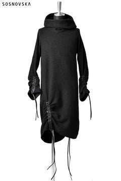 Load image into Gallery viewer, SOSNOVSKA exclusive DRAPED COCOON LONGSLEEVE HOODIE KNIT (BLACK STRIPE)