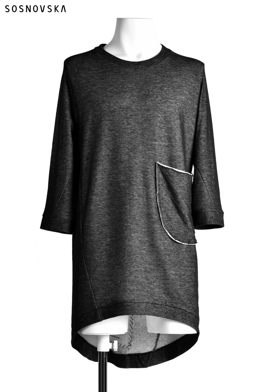 SOSNOVSKA exclusive DOUBLE JERSEY TOPS with PATCH DETAIL (BLACK×GREY)