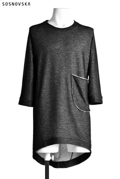 画像をギャラリービューアに読み込む, SOSNOVSKA exclusive DOUBLE JERSEY TOPS with PATCH DETAIL (BLACK×GREY)