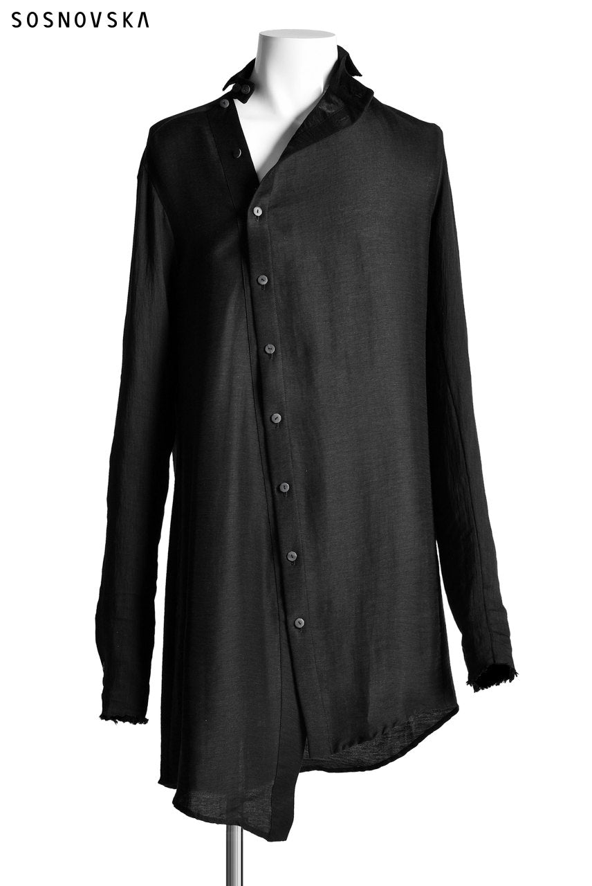 SOSNOVSKA DIAGONAL FLY LONG SHIRT (BLACK)