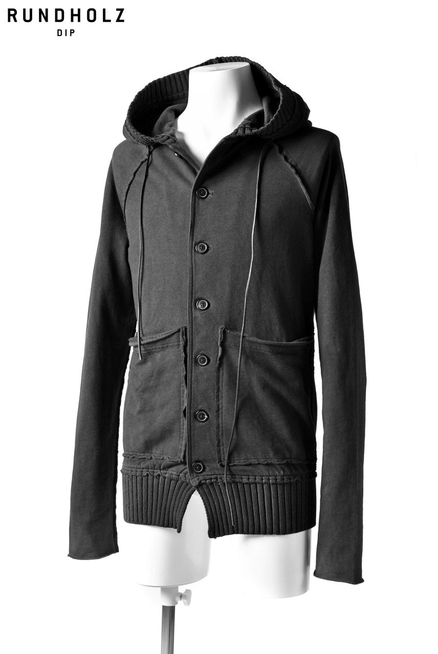 RUNDHOLZ DIP HOODIE BUTTON DOWN JACKET (CARBON)