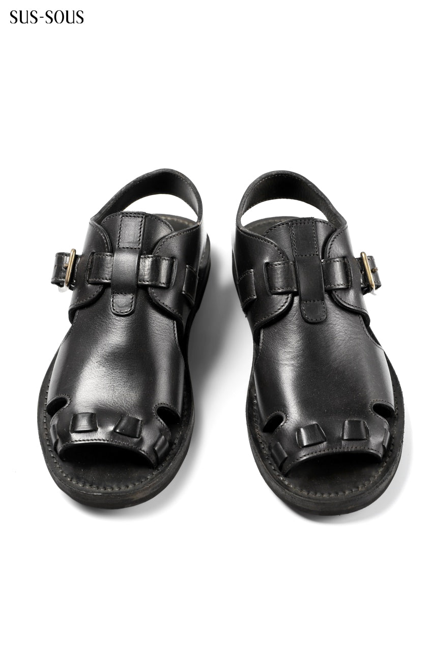 sus-sous sandal shoes / italy oiled cow leather *hand dyed (BLACK BROWN)