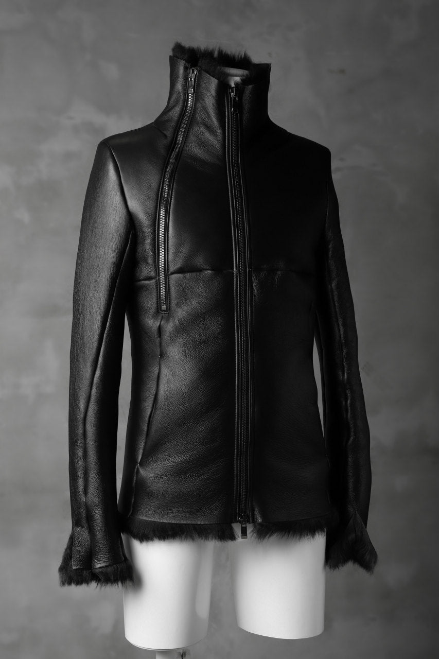 画像をギャラリービューアに読み込む, incarnation exclusive SHEEP SHEARLING MOUTON BLOUSON / WIDE NECK & DUAL ZIP (BLACK×BLACK)