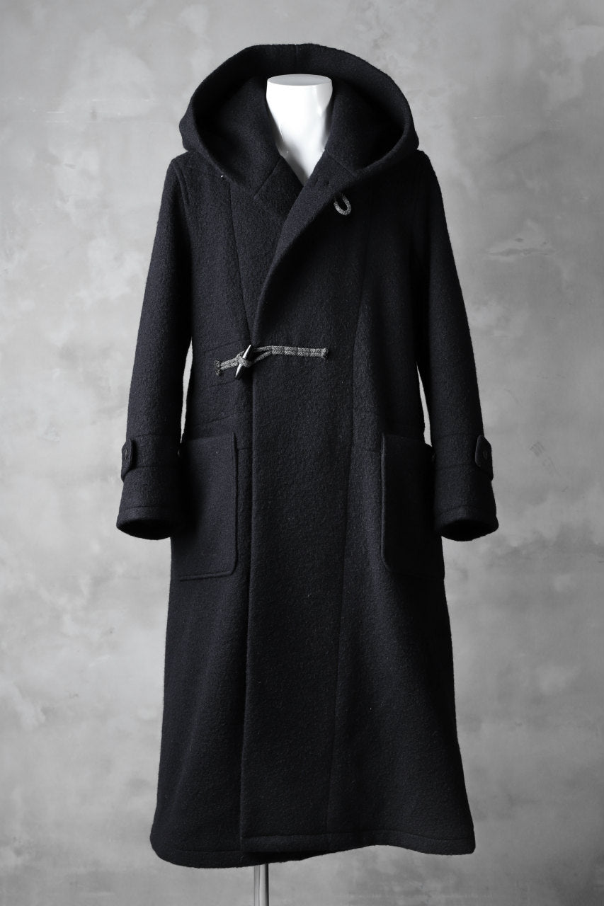 Load image into Gallery viewer, sus-sous duffle coat / Napping melton wool (NAVY BLACK)