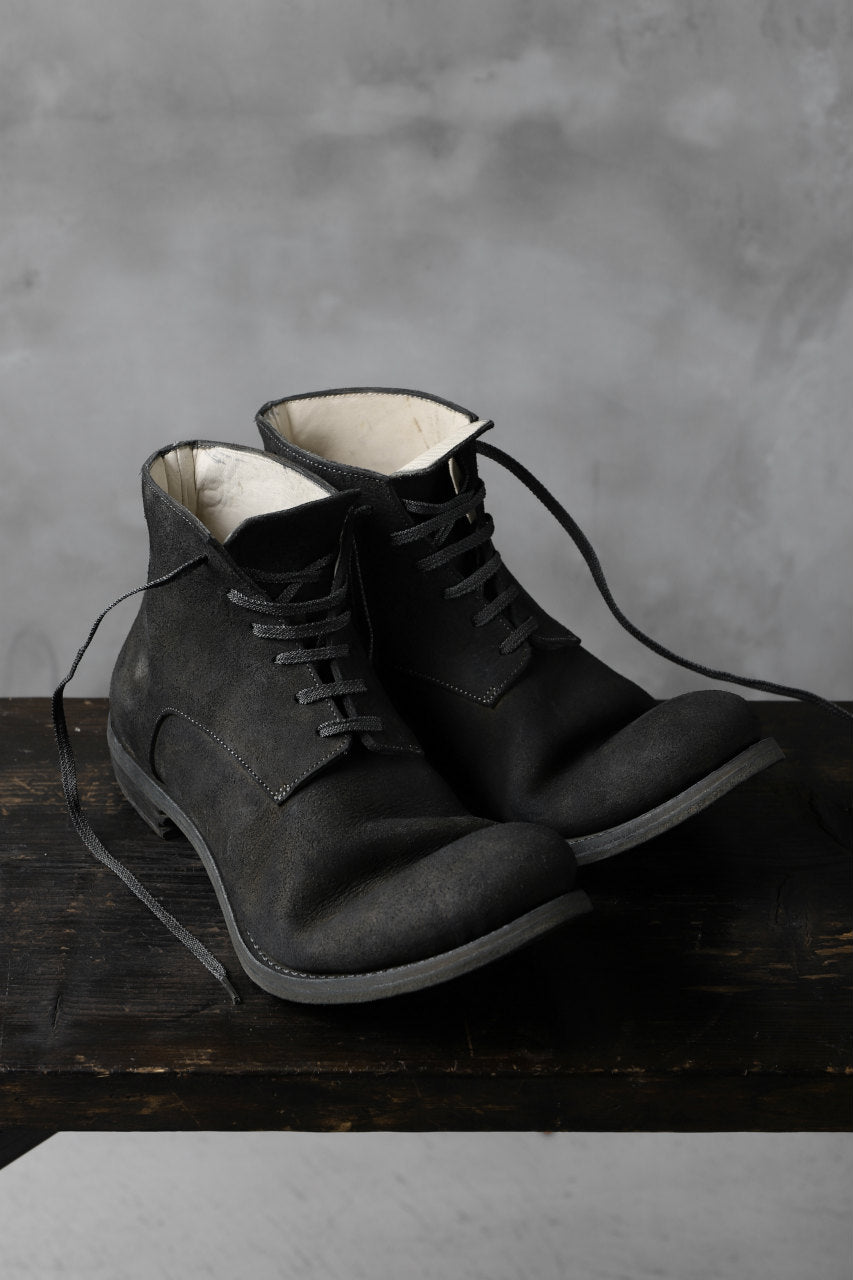"prtl ""one make"" Lace Up Boots (JAPAN Cow Reversed Leather / Hand Dyed BLACK)"