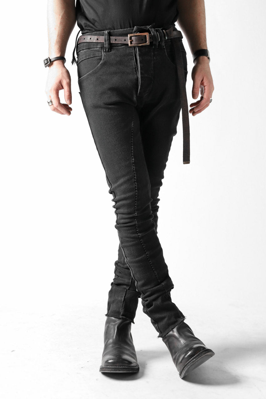 thomkrom OVER LOCKED SKINNY TROUSERS / FADE STRETCH DENIM (BLACK)