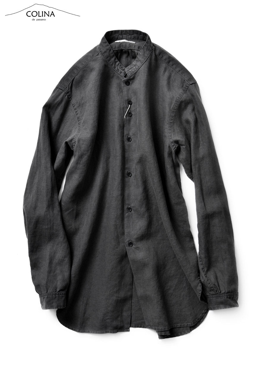 COLINA GRANDPA SHIRT / NATURAL DYED LINEN (LOG WOOD BLACK)