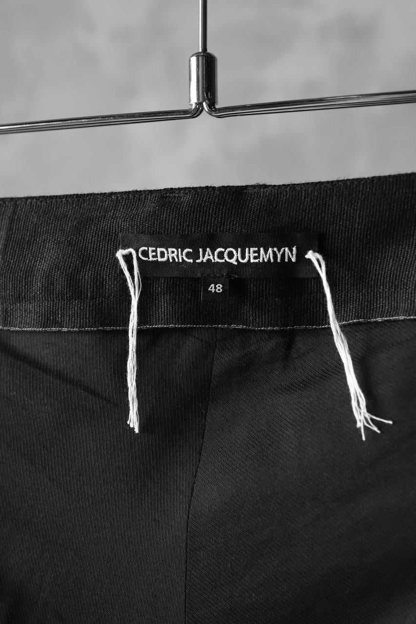 CEDRIC JACQUEMYN  PLEATED RIBBED DECOUP PANTS / VIRGIN WOOL (BLACK)