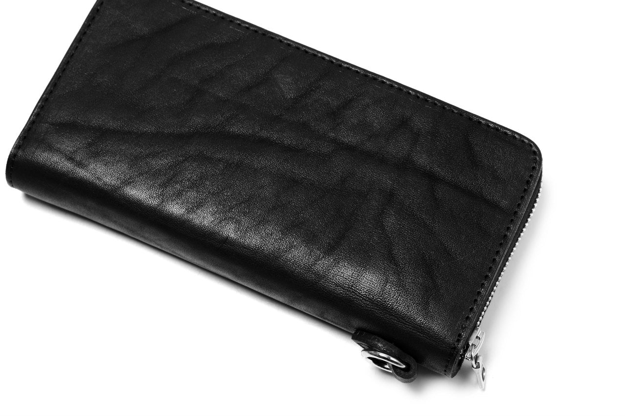 ISAMU KATAYAMA BACKLASH exclusive ROUND FASTNER WALLET / DOUBLE-SHOULDER OBJECT DYED (BLACK)