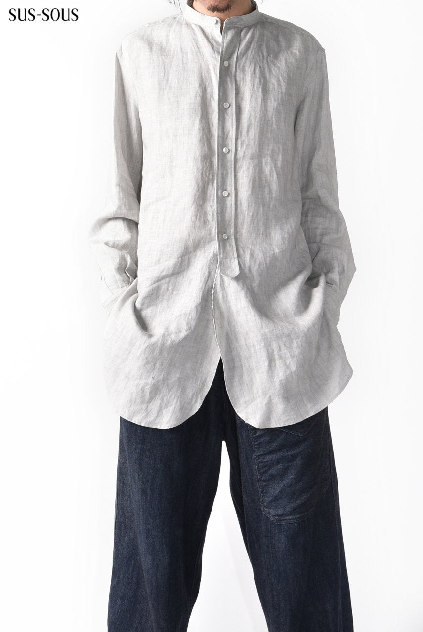 sus-sous officer shirt /L100 sumi dyed (LIGHT GREY)