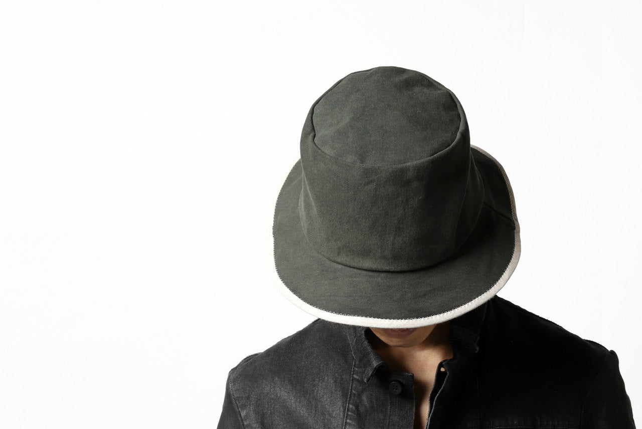 der antagonist. HAND CRAFTED BRIM HAT (COTTON / EDGE PIPING)