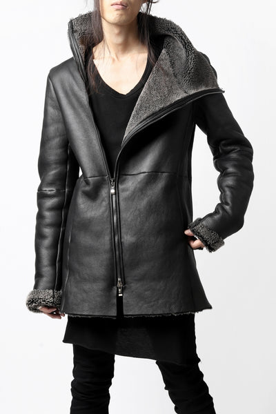 incarnation HORSE LEATHER DOUBLE BREAST MOTO JACKET / OBJECT DYED (BLACK)