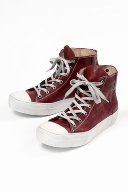 incarnation HIGH CUT LACE UP SNEAKER / HORSE FULL GRAIN (HAND DYED DARK RED)