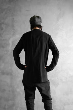 画像をギャラリービューアに読み込む, masnada COLLARLESS UNIFORM SHIRT / TESSUTO MISTO (BLACK)