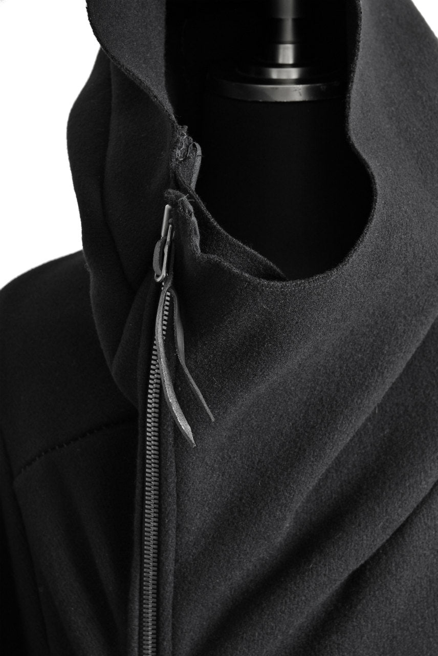 LEON EMANUEL BLANCK DISTORTION HOODED CURVE COAT / CASHMERE KNIT MELTON (BLACK)