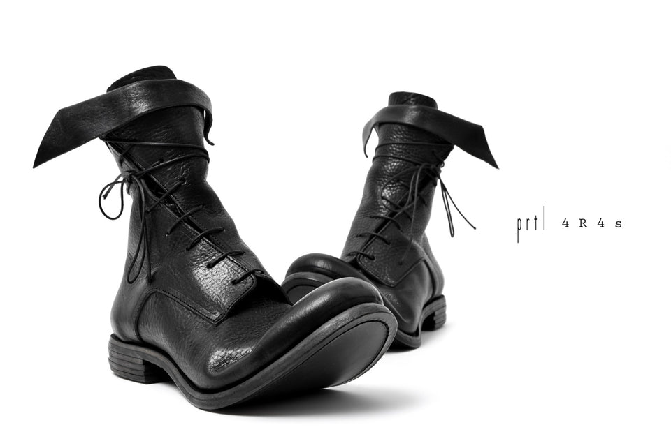 "Load image into Gallery viewer, prtl x 4R4s exclusive Twisted Lace Boots / Waxy Steer ""No4-2"" (BLACK)"