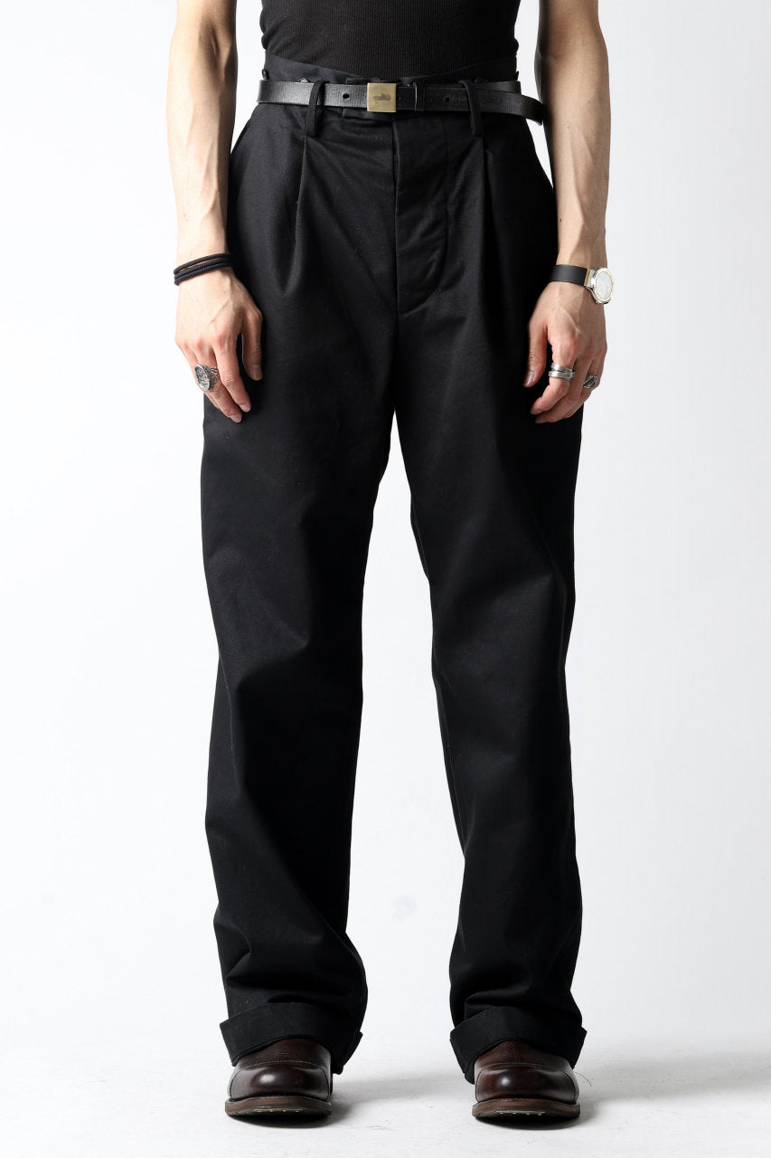 KLASICA GRIOTTE 2 TUCKED WIDE TROUSERS / CHINO CLOTH (BLACK)