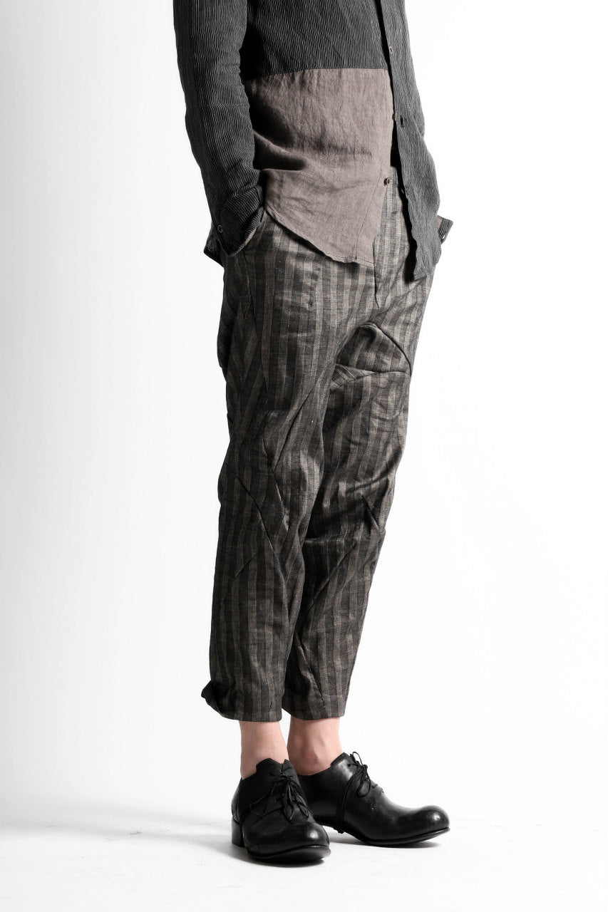 LEON EMANUEL BLANCK DISTORTION HIGH WAIST PANTS / STRIPE STRETCH (BLACK STRIPE)
