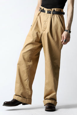 KLASICA GRIOTTE 2 TUCKED WIDE TROUSERS / CHINO CLOTH (BEIGE)