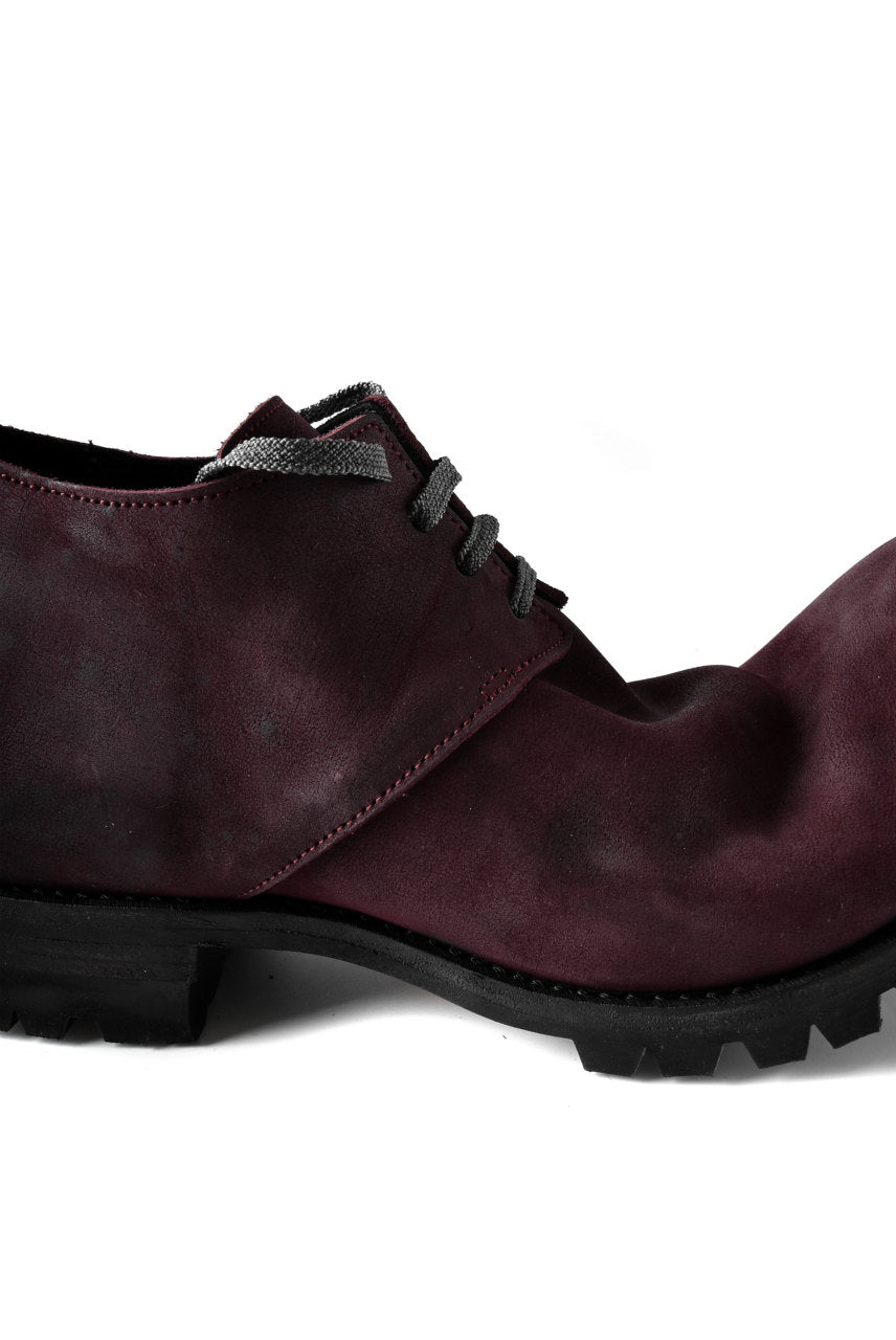 Portaille exclusive Derby Shoes / Vintage Nubuck Steer Leather / Vibram #100 (BORDEAUX)