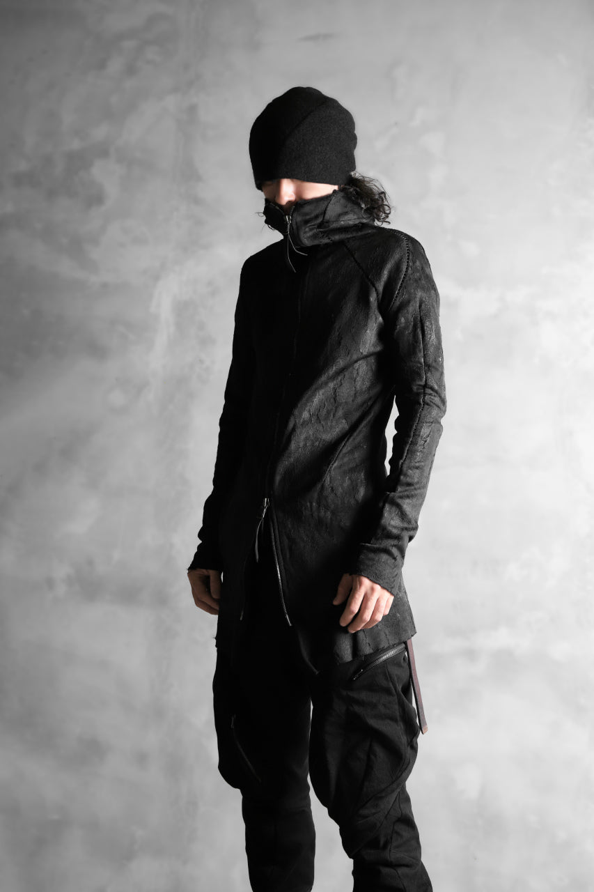 LEON EMANUEL BLANCK FORCED HOODY ZIPPED / SPHERE KNIT JACQUARD WITH LATEX