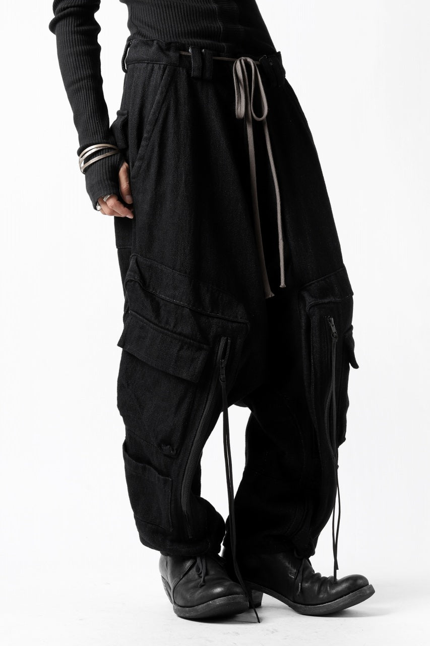 画像をギャラリービューアに読み込む, A.F ARTEFACT HEAVY CROTCH CARGO PANTS / LOW COUNT DENIM (BLACK)