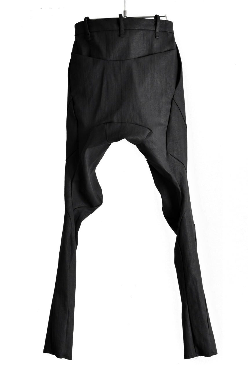 LEON EMANUEL BLANCK FORCED FITTED LONG PANT / RESINATED CL-TWILL (BLACK)