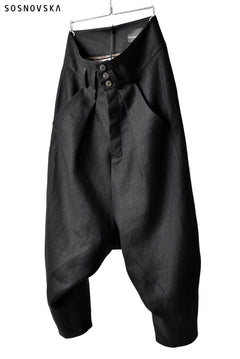 Load image into Gallery viewer, SOSNOVSKA exclusive CLOWN STYLE LINEN PANTS (BLACK)