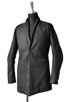 画像をギャラリービューアに読み込む, LEON EMANUEL BLANCK FORCED SHORT BLAZER JACKET with LAPEL / PLAIN STITCH / RESINATED CL-TWILL (BLACK)