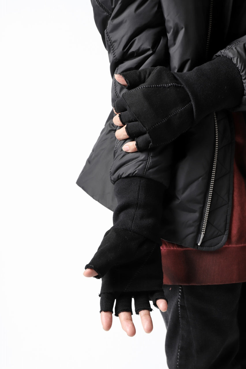thomkrom LAYERED FINGER GLOVES / JERSEY OVERLOCKED (BLACK)
