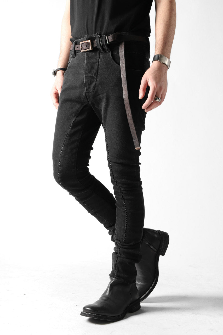 Load image into Gallery viewer, thomkrom OVER LOCKED SKINNY TROUSERS / FADE STRETCH DENIM (BLACK)