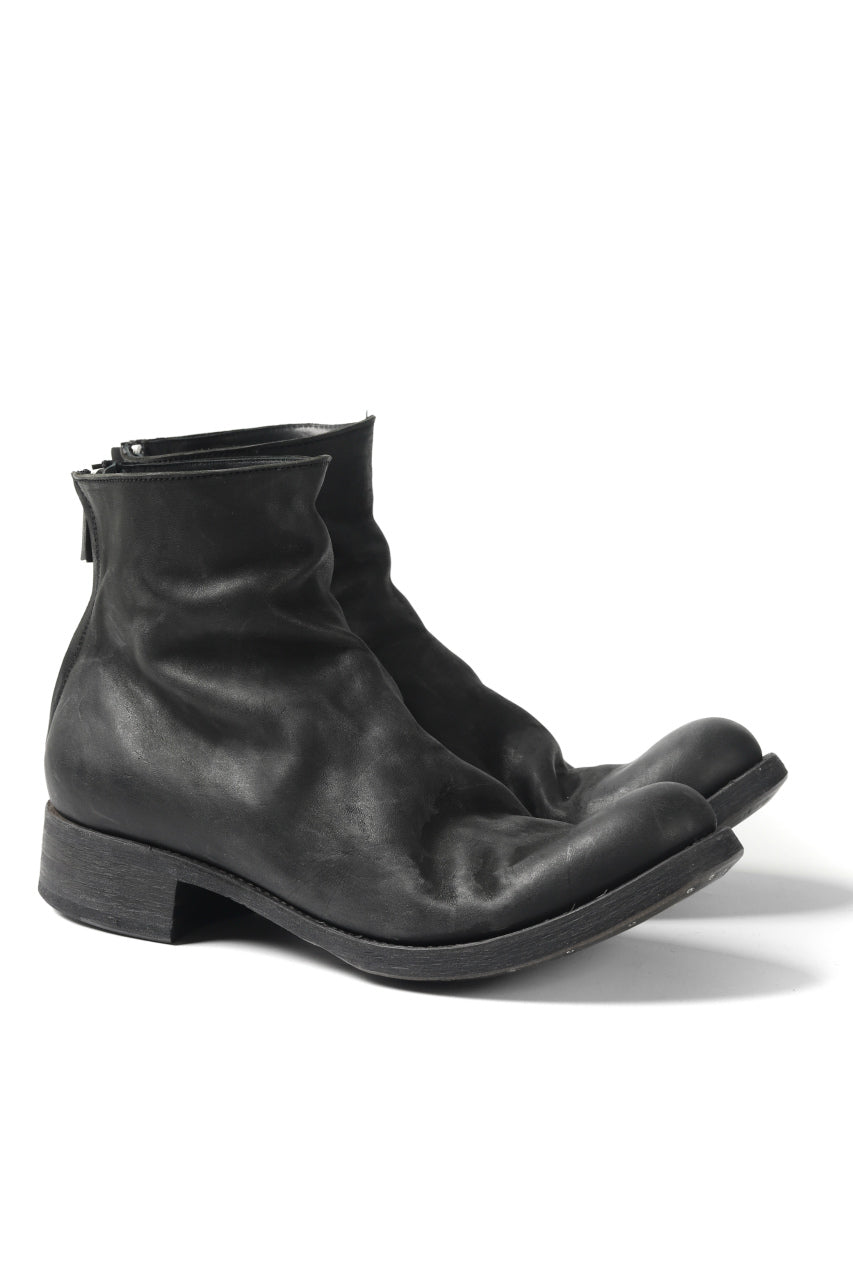 EVARIST BERTRAN  EB7 One Piece Leather Back Zip Middle Boots / Washed Culatta (BLACK)